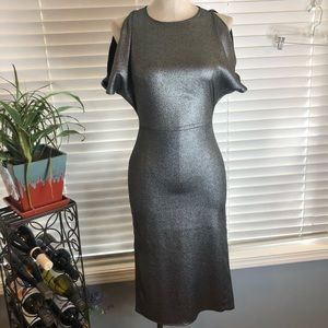 Girls night out metallic cold shoulder dress.